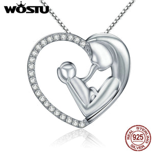 Wostu 100 real 925 sterling silver best mom heart pendant necklaces wostu 100 real 925 sterling silver best mom heart pendant necklaces for women jewelry christmas mozeypictures Image collections