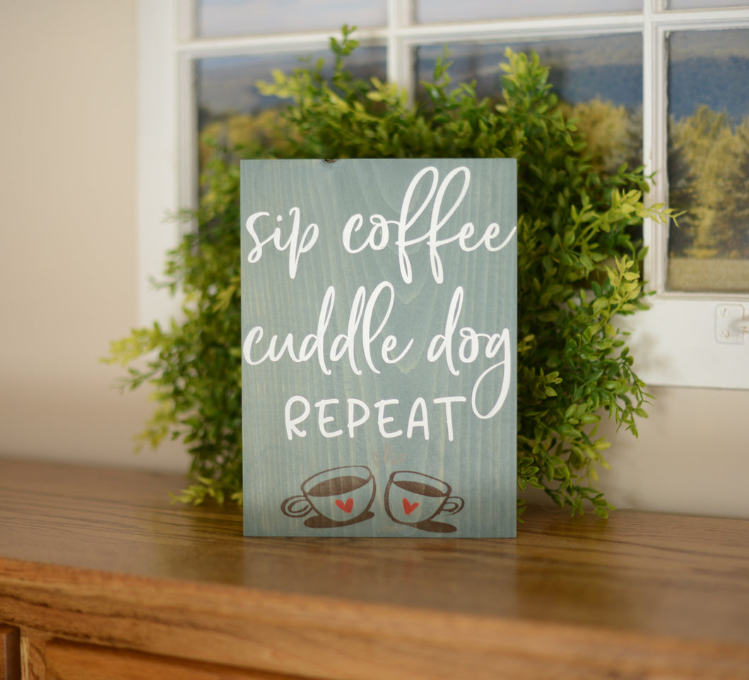 Coffee Wood Sign - Dog Wood Sign - Home Decor