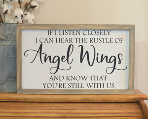 Angel Wings Wood Sign - Memorial Wood Sign