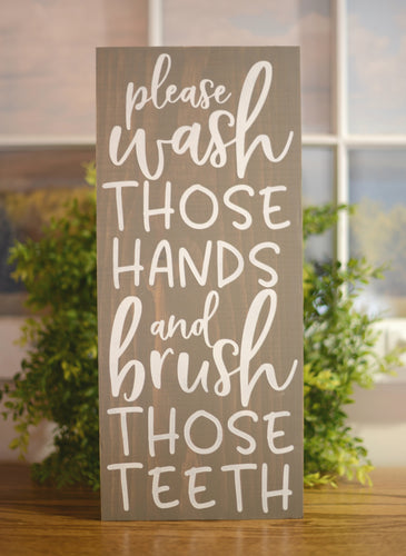 Bathroom Wood Sign - Wash Your Hands Wood Sign