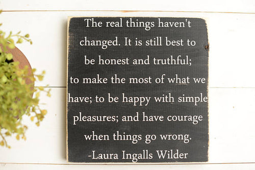 Laura Ingalls Wilder Wood Sign