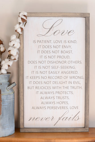 Love Is Patient Wood Sign