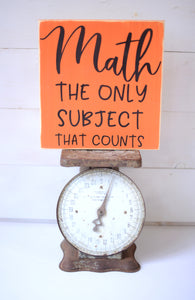 Math Wood Sign