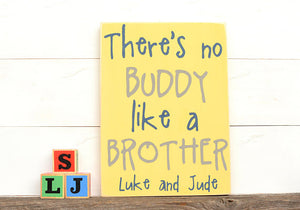 There's No Buddy Like A Brother Wood Sign