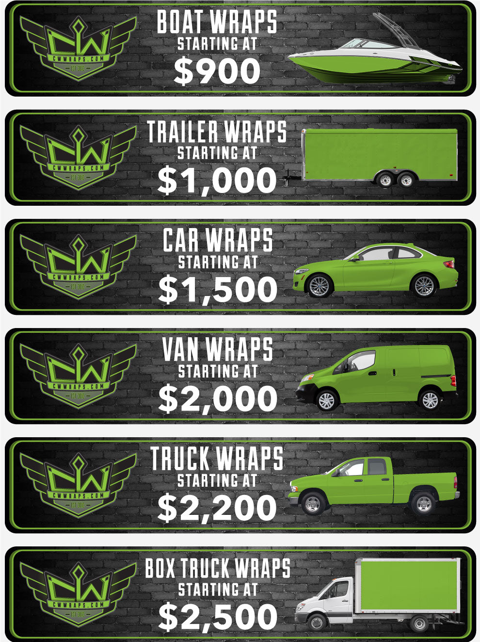 cw vinyl vehicle wraps starting at $900