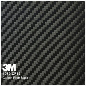 swatch of black vinyl with a carbon fiber pattern