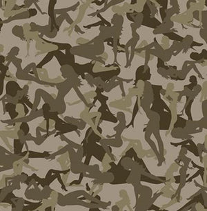 swatch of camo vinyl with a woman silhouette pattern