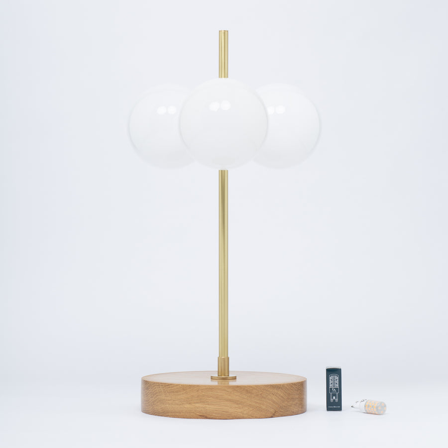 Opal Globe Oak Table Lamp