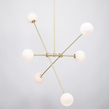 Six Matte Sphere Articulating Satin Brass Pendant