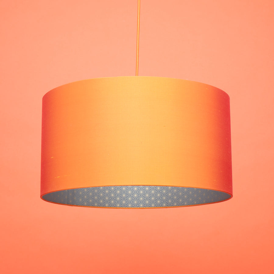 Flame orange silk gold geometric lining lampshade