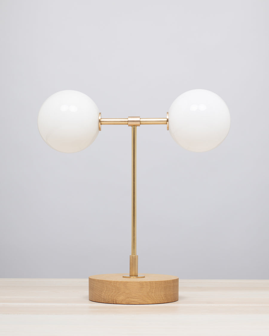 Double Opal Globe Hand Turned Quarter Sawn Oak Table Lamp