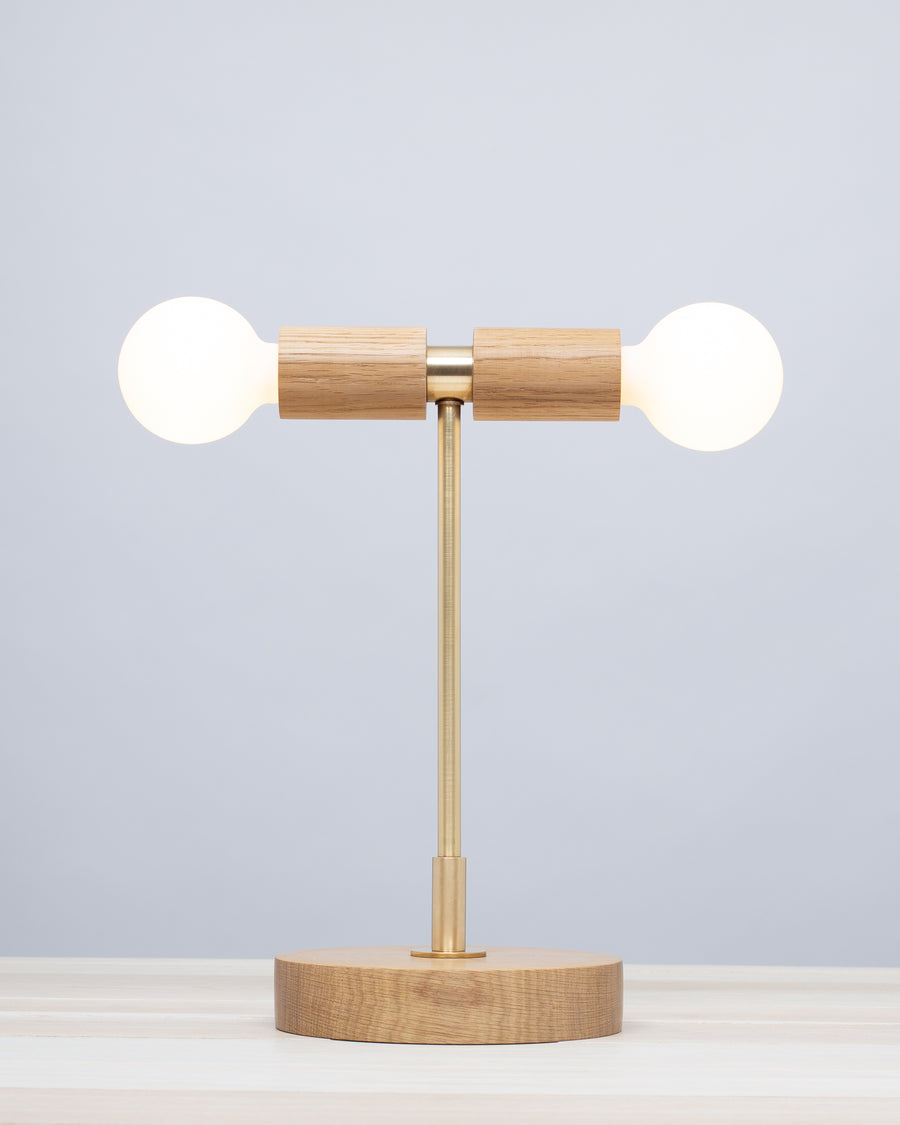 Double Tala Porcelain Handturned Oak Table Lamp