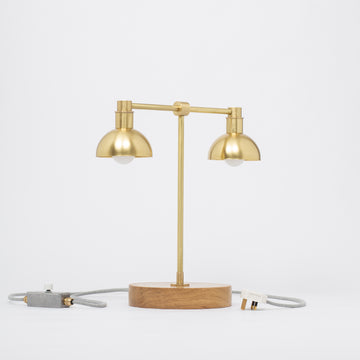 Double Dome Oak Dim to Warm Table Lamp