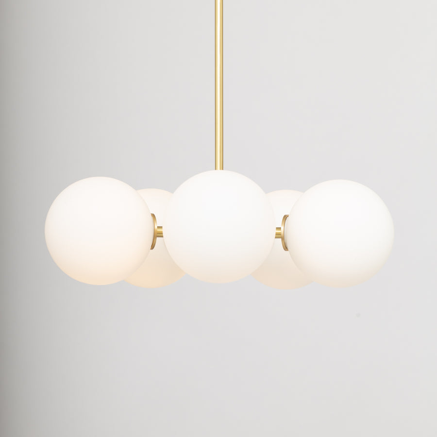 Pentamerous Matte Glass Sphere Satin Brass Pendant