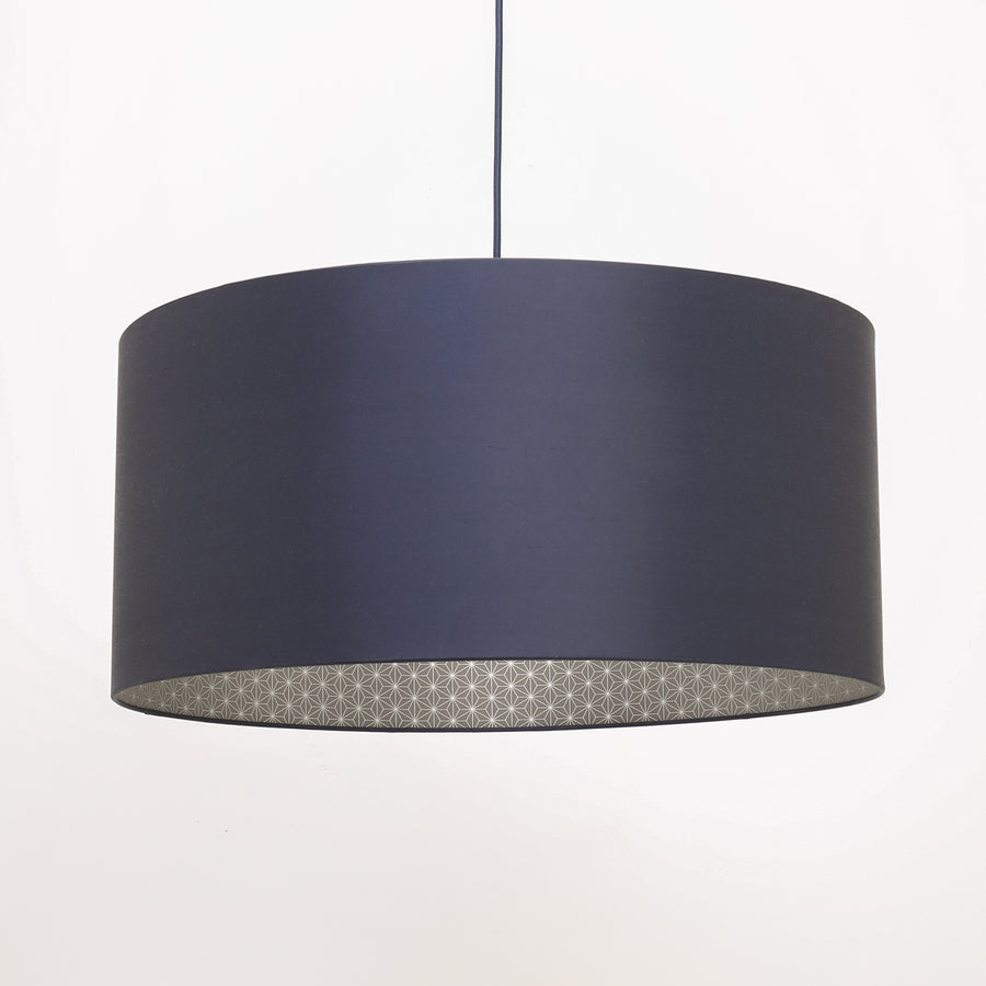 Ink silk silver geo lining lampshade
