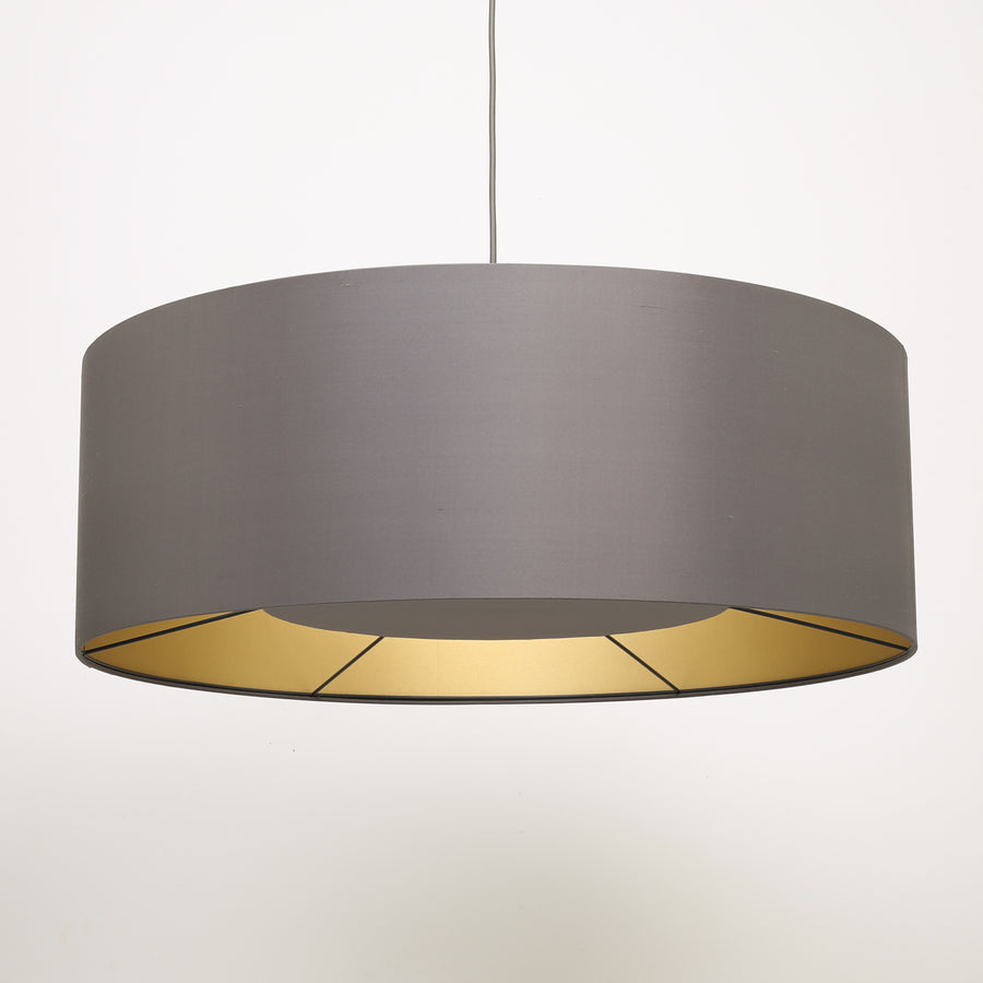 Manta ray dark grey silk gold lining lampshade
