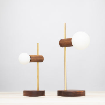 Tala Porcelain Walnut Brass Table lamp