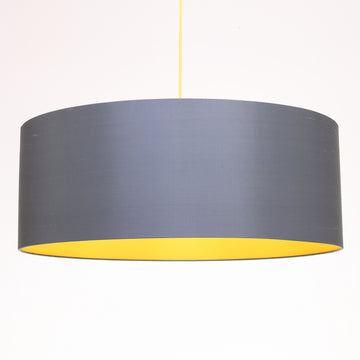 Gunmetal silk yellow lining lampshade