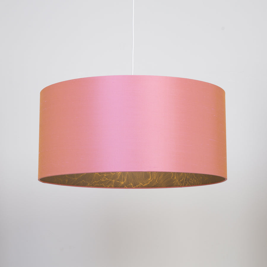 Rosette pink silk gold wave lampshade