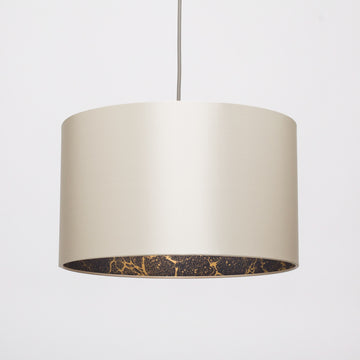 Wishbone satin silk gold marble lampshade