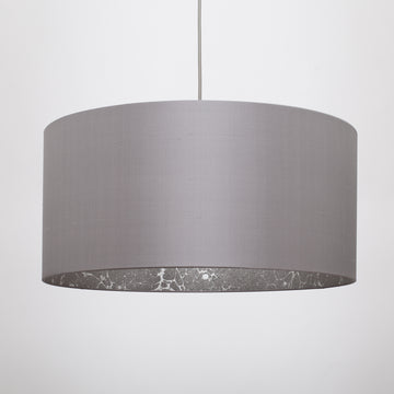Manta ray dark grey silk silver marble lampshade