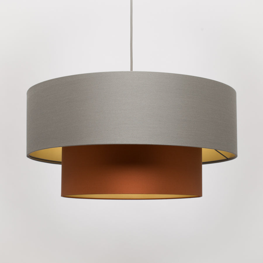 Tiered Lava stone Burnt orange silk gold lampshade