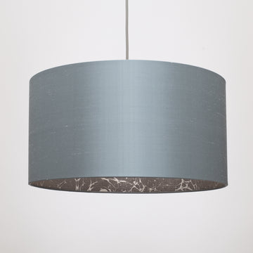 Graphite silk silver space marble lampshade