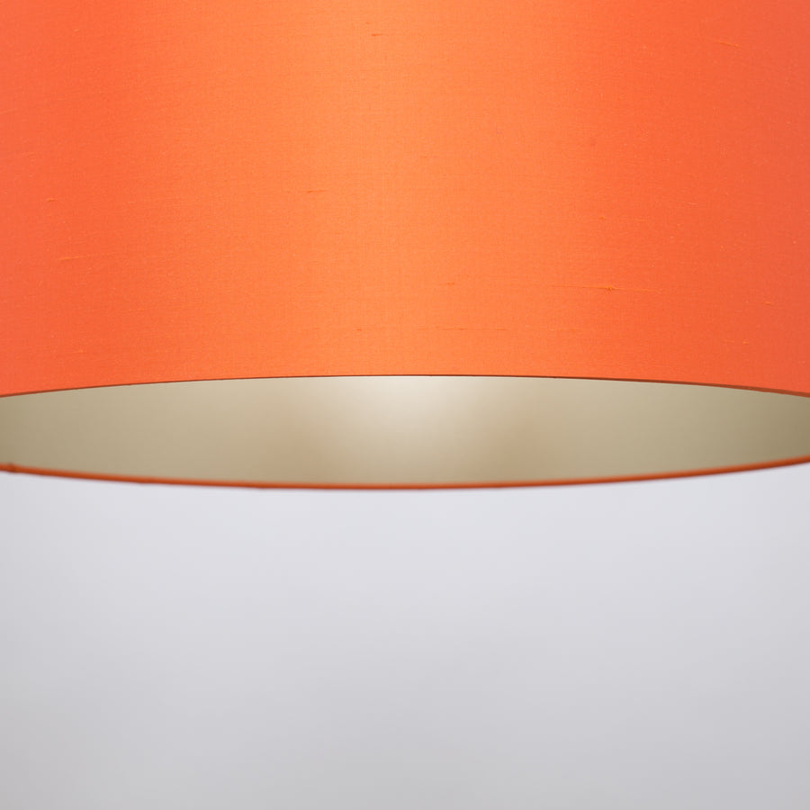 Satsuma orange silk champagne lampshade