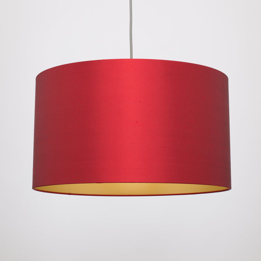 Burgundy red silk gold lampshade