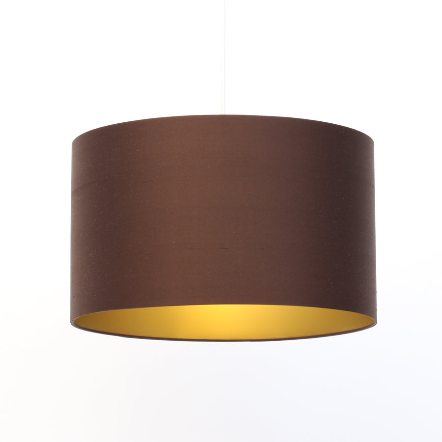 Chocolate brown silk gold lining lampshade