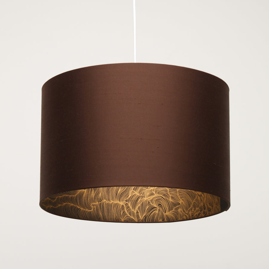 Chocolate brown silk gold wave lining lampshade