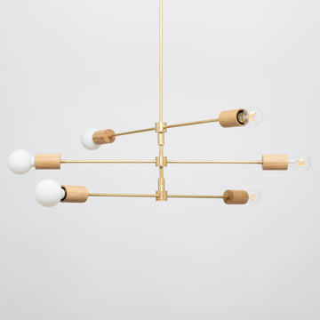 Triple Teir Brass Pendant Oak + Tala