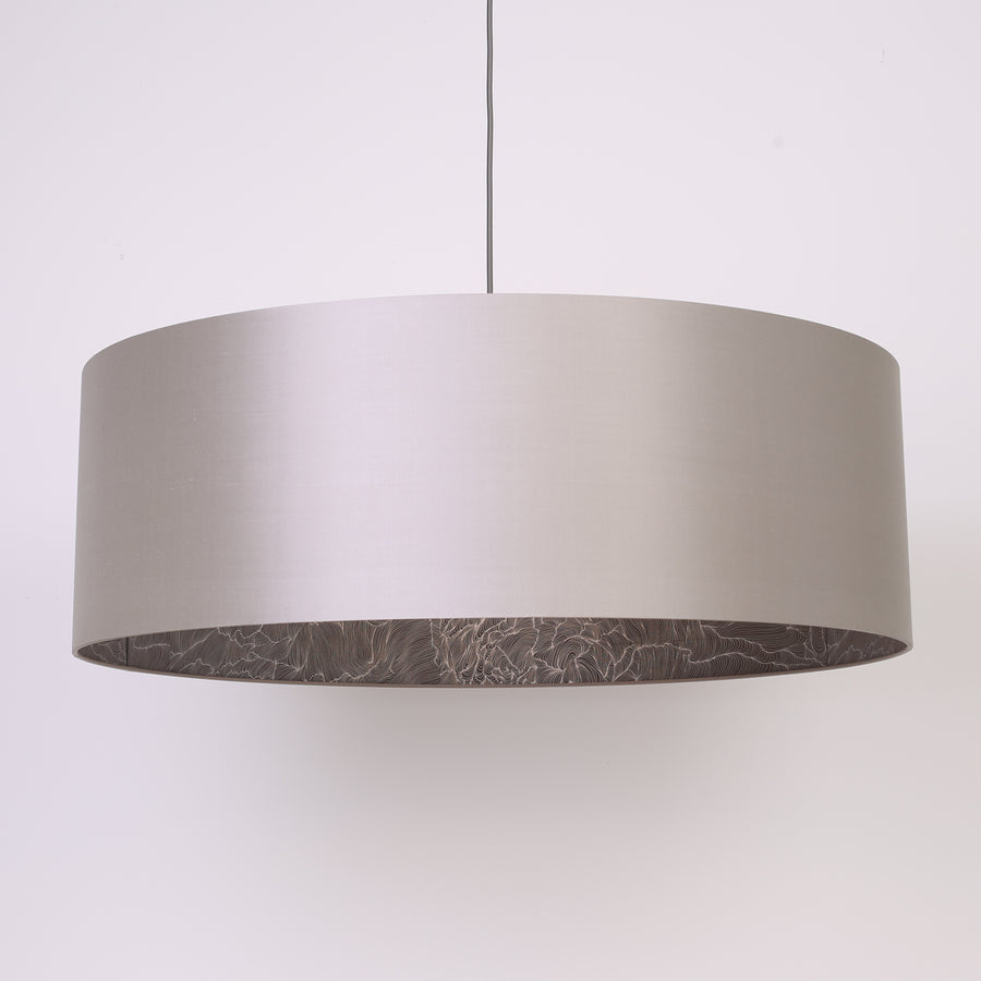 Silver silk silver wave lining extra large lampshade