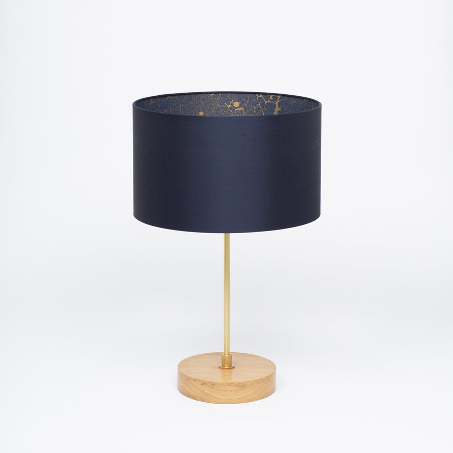 Ink Navy Blue Silk Gold Space Marble Lampshade