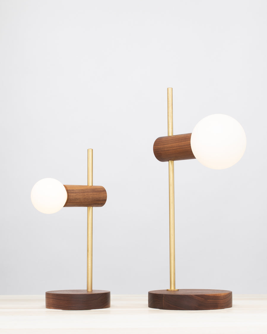 Stem Brass and Walnut table lamp with Sphere Dim to Warm bulbs