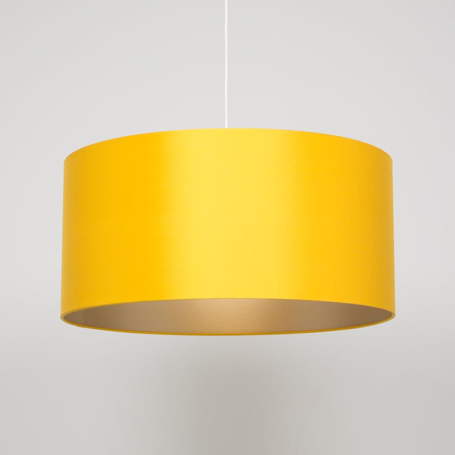 Sunflower yellow silk warm silver champagne lining lampshade
