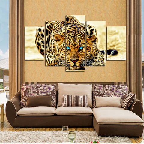 Abstract Five Panel Leopard 3D Canvas Picture