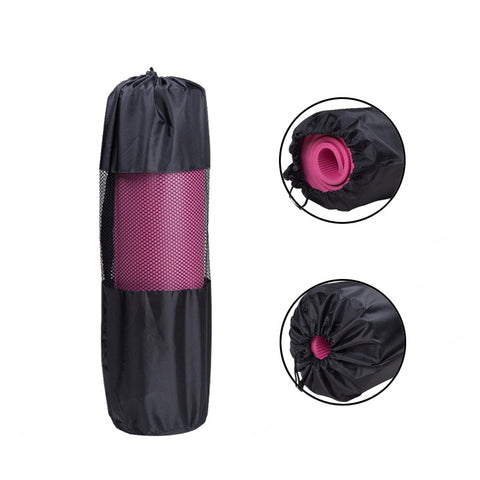 Convenience Black Portable Yoga Mat Bag Case Nylon Pilates Carrier Mesh Adjustable Strap Sport Tool Style without Mat