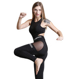 Didiopt Black Tracksuit Women High Elastic Sportwear Print Letter Transparent Yoga Set Jogging Suits Sports Kits P1156Y
