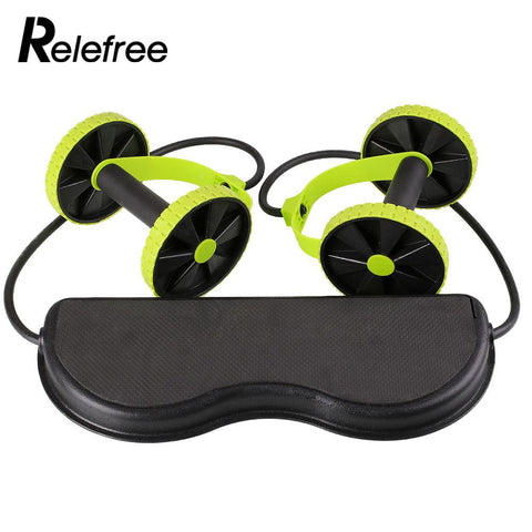 Dual Wheels Roller Sports Elastic AB Abdominal Yoga Resistance Pull Rope Crossfit Exercise Fitness Home Gym training Tool