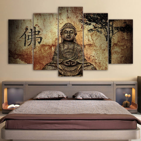 Classic Buddha 5-Panel Canvas Painting