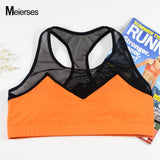MEIERSES Women Sports Bra Fitness Clothes Breathable Running Vest Mesh Patchwork Workout Tank Top 2018 New Yoga Top Sport Bra