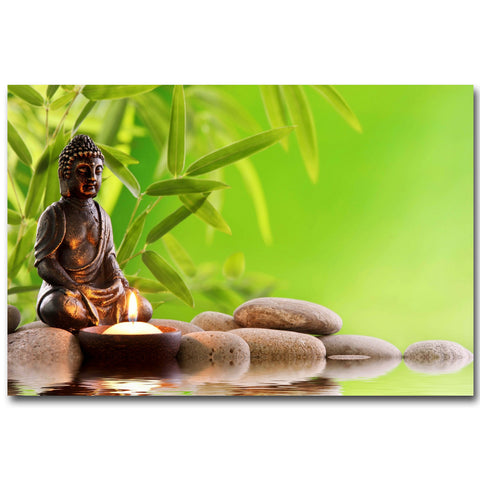 Zen Stone and Bamboo Meditation  Silk Fabric Picture