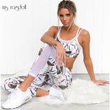 Tracksuit For Women Floral Print Mash Patchwork 2 Piece Yoga Set Women Cropped Bra+Long Pant Fitness Sport Suit Women Clothing
