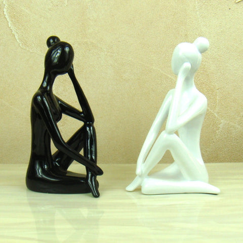 Abstract Yoga Figurine Sculpture Handmade Resin