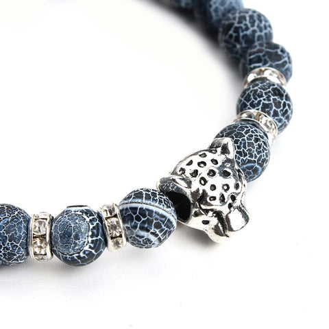 Men's Leopard Head Charm Bracelet