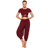 Yoga Set Short Sleeve Crop Top Chiffon Pants