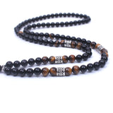 Natural stone onyx Tiger eye stone Beaded Women&Men yoga necklace