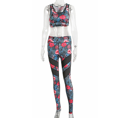 2018 Floral Printed Women Yoga Set Mesh Splice