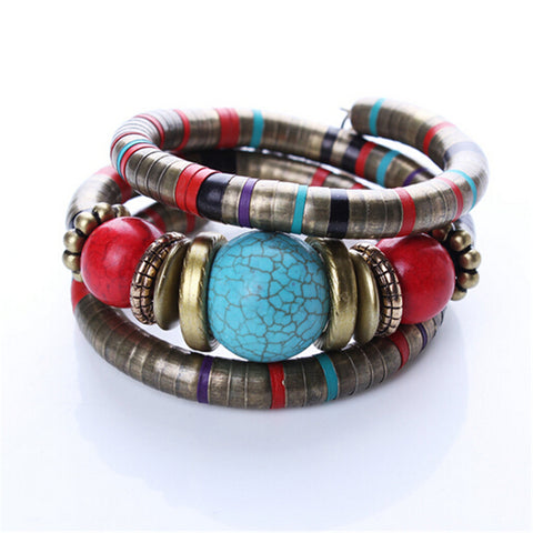 Boho Multi-Color Natural Stone Bracelet